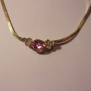 "Avon Pink Gold Tone Necklace 19"" L"